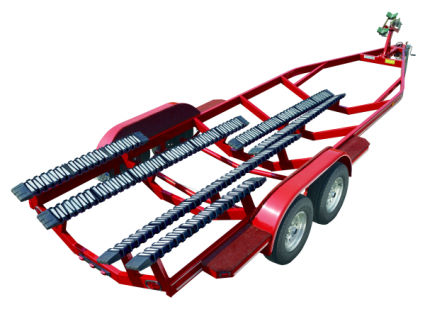 Image of red boat trailer fitted with Snaptraxx bunk system